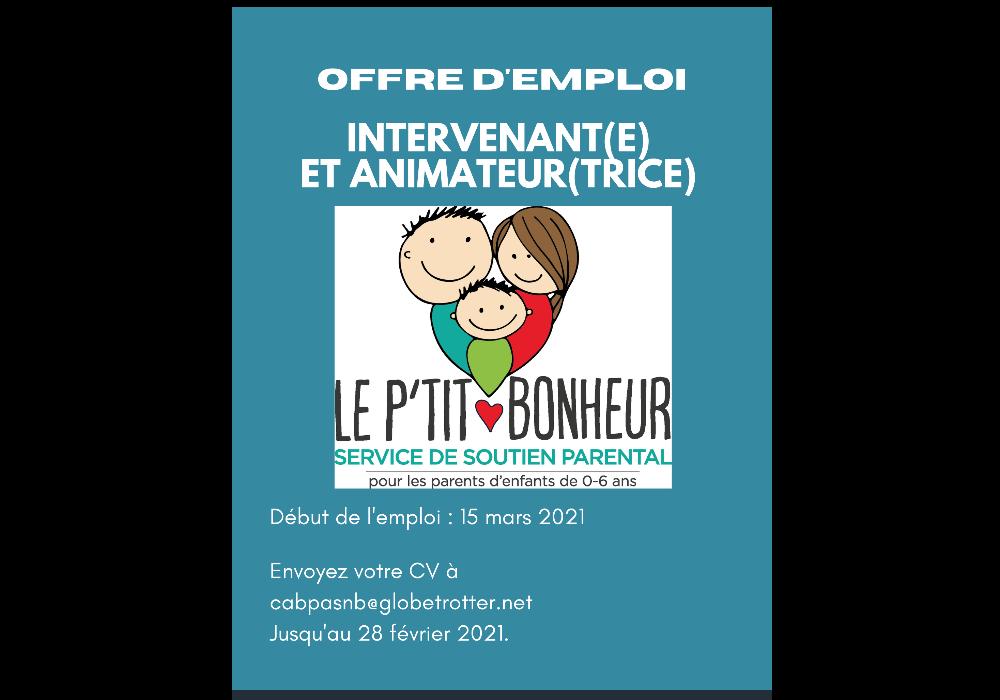 OFFRE D'EMPLOI Intervenant (e) – animateur (trice)
